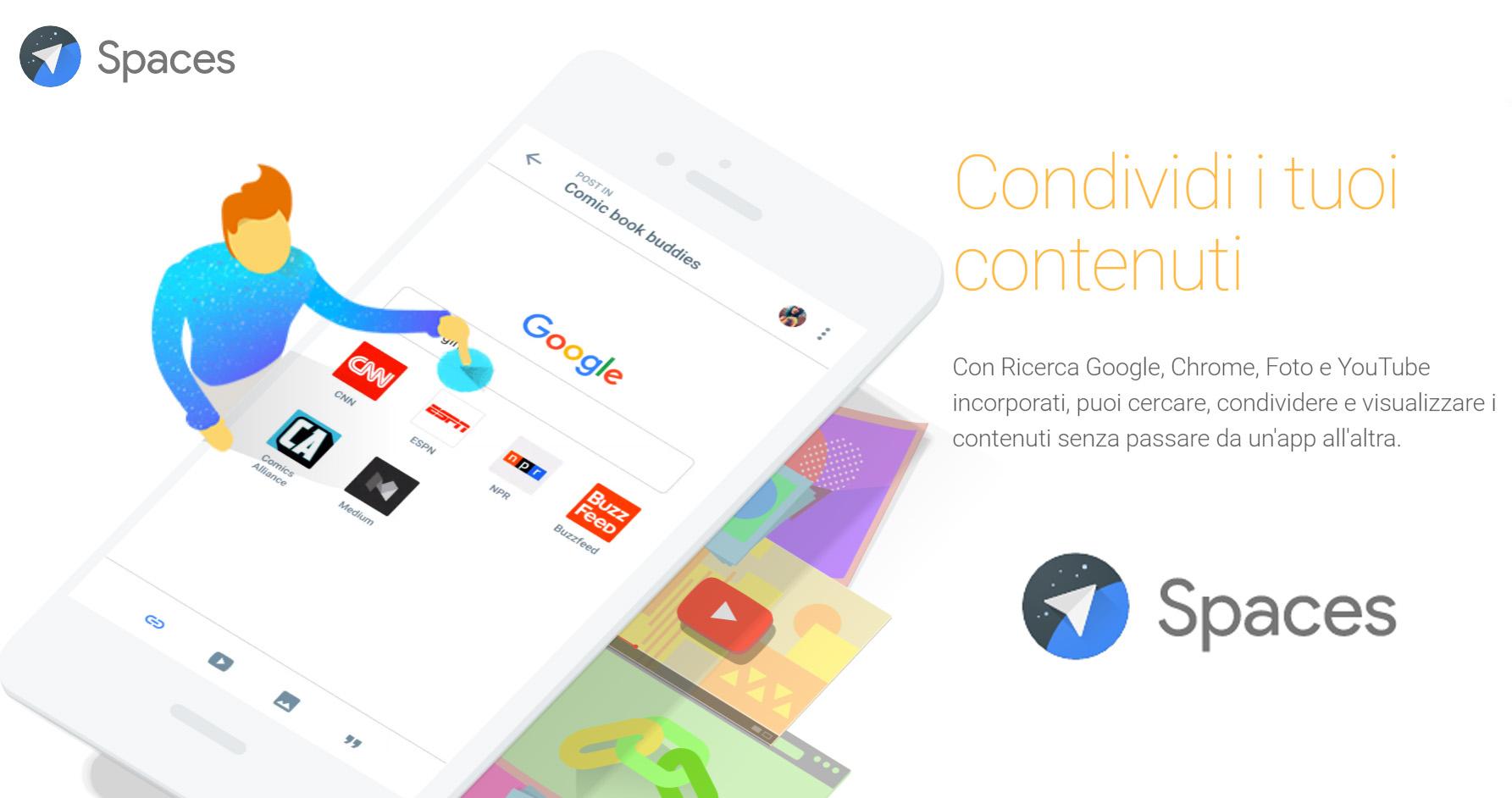 Spaces, la nuova App Google per gruppi che condividono tutto
