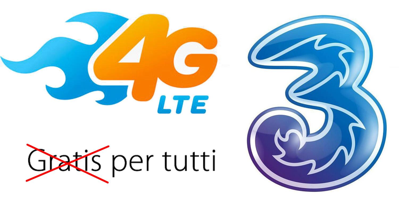 3 Italia 4G LTE diventa a pagamento per tutti, 1 euro al mese