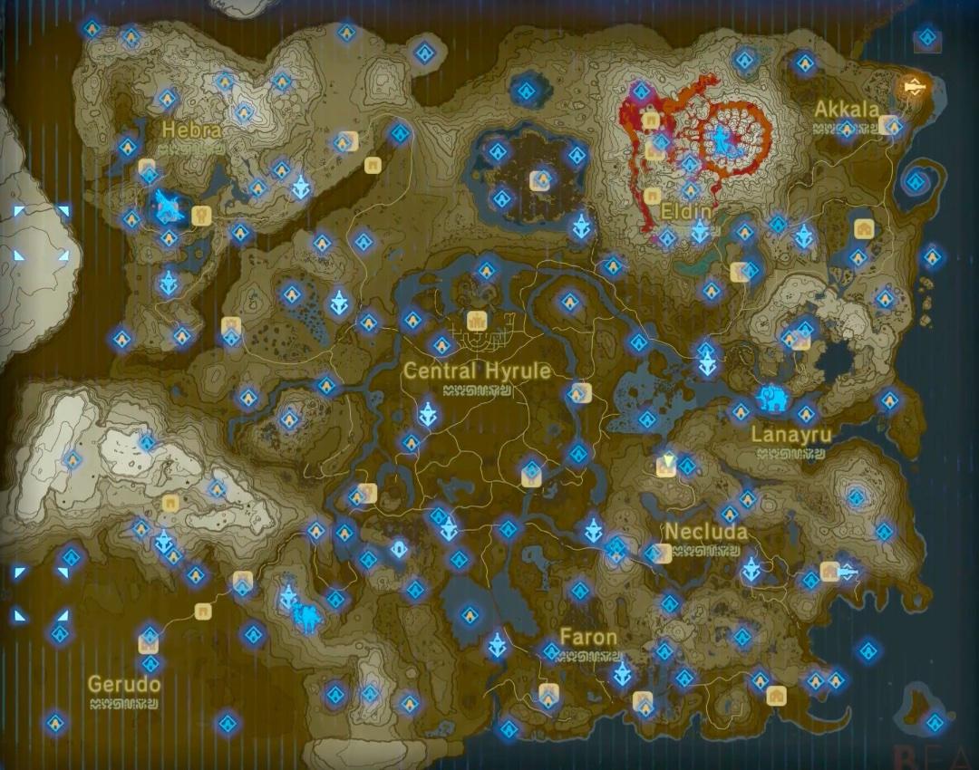 Mappa con i 120 sacrari di The Legend of Zelda Breath of the Wild