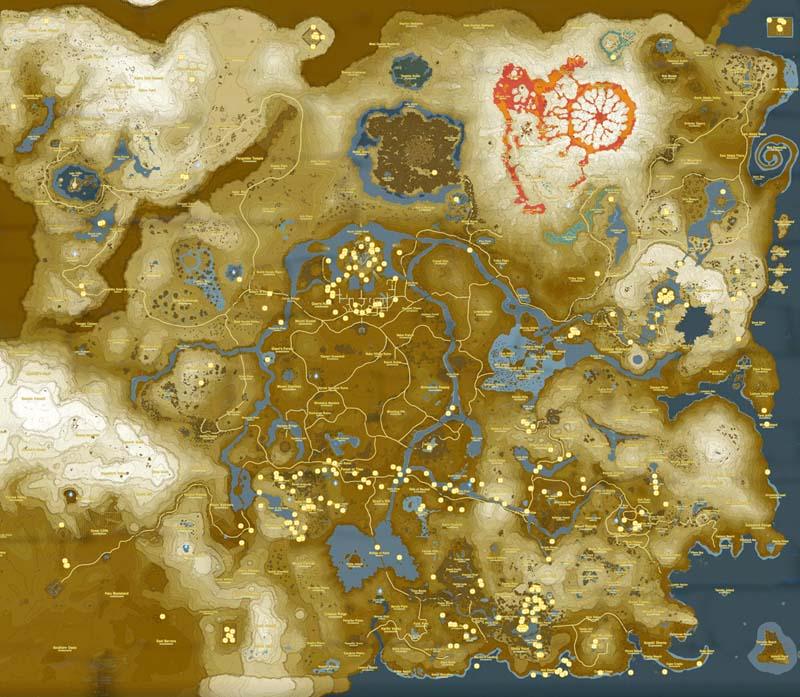 Mappa con tutti i tesori nascosti di The Legend of Zelda Breath of the Wild