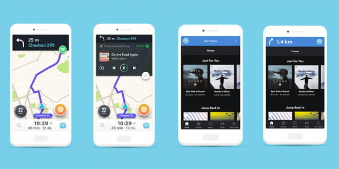 Waze e Spotify: indicazioni stradali e musica insieme