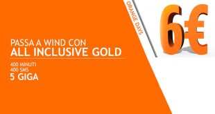 Wind All Inclusive Gold: 400 minuti, 400 SMS e 5 GB a 6€