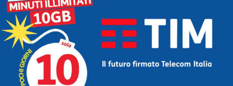 Nuova offerta TIM Ten Go: Minuti illimitati e 10 GB a 10 Euro