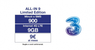 Offerta Tre All-IN 9: 900 minuti, 900 SMS e 9 GB a 9€