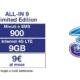 Offerta Tre All-IN 9: 900 minuti, 900 SMS e 9 GB a 9€