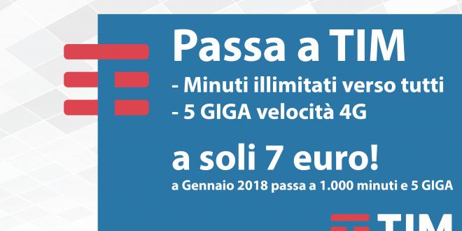 TIM Planet Go: minuti illimitati e 5 Giga a 7 Euro, per utenti 3Italia