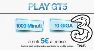 3 Italia Play GT5: 250 minuti e 2,5 Giga a 1,25€ a settimana