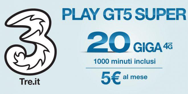 3 Italia Play GT5 Super: 20 Giga e 1000 minuti a 5 euro
