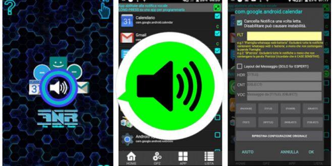 App Lettore Vocale di notifiche: messaggi WhatsApp, SMS, email