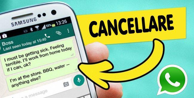 Cancellare messaggi WhatsApp inviati prima che siano letti