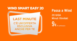 20 Giga e minuti illimitati con Wind Smart Easy 20 a 9€