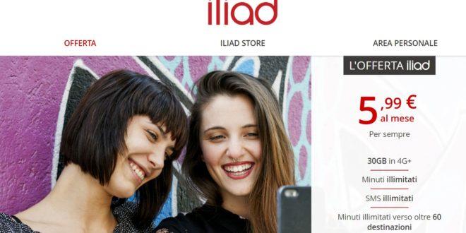 L'offerta Iliad: minuti e sms ILLIMITATI + 30 GIGA a 5,99 euro al mese